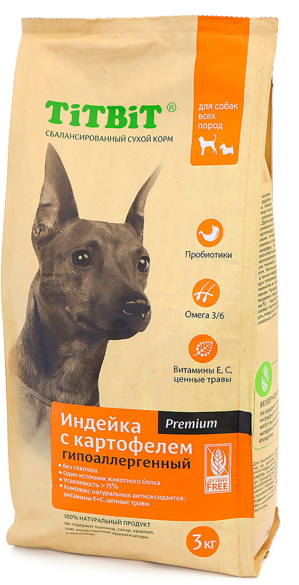 Корм сухой Titbit для собак, гипоаллергенный, индейка с картофелем, 3 кг9116Сбалансированный сухой корм TiTBiT премиум класса Индейка с картофелем разработан специально для удовлетворения потребностей собак, склонных к аллергии. Из формулы корма исключены злаки и глютен. В качестве источника белка животного происхождения используется один вид мяса. Содержит все необходимые для здорового развития витамины, минералы и микроэлементы, обладает великолепными вкусовыми качествами.