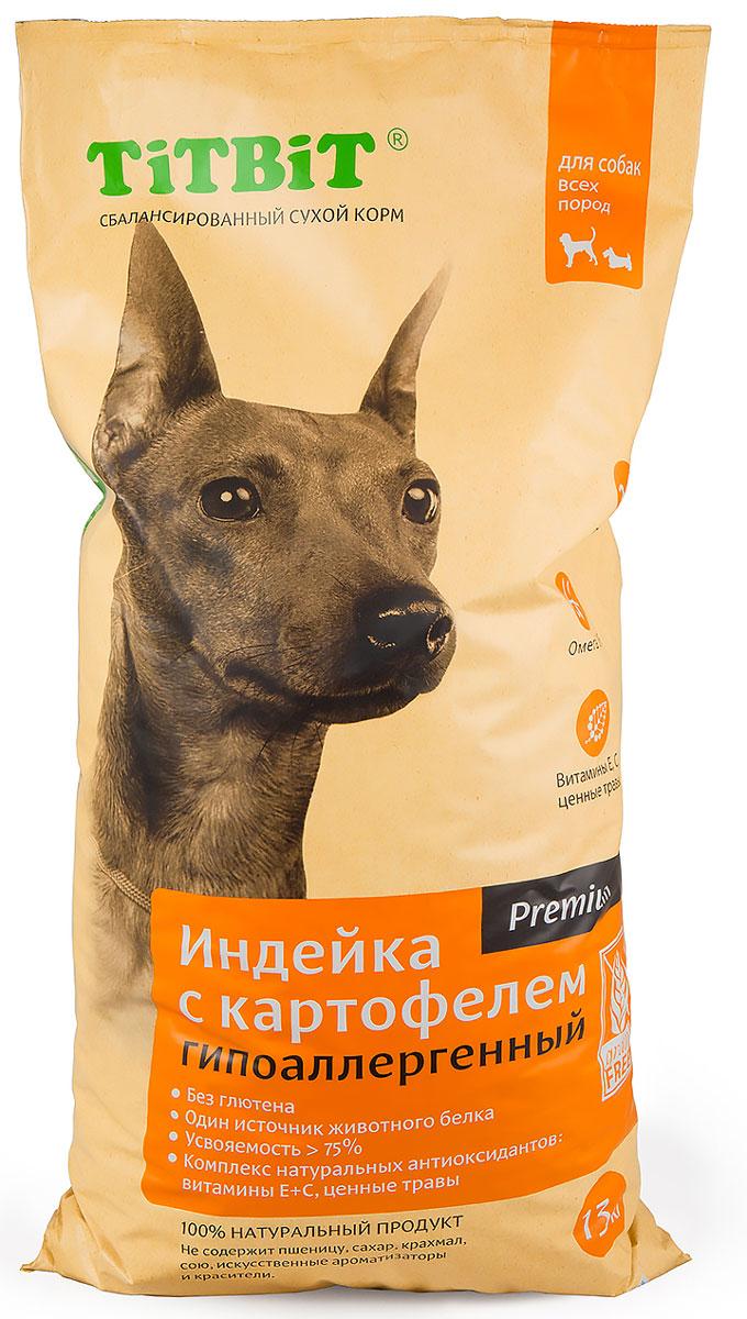 Корм сухой Titbit для собак, гипоаллергенный, индейка с картофелем, 13 кг9123Сбалансированный сухой корм TiTBiT премиум класса Индейка с картофелем разработан специально для удовлетворения потребностей собак, склонных к аллергии. Из формулы корма исключены злаки и глютен. В качестве источника белка животного происхождения используется один вид мяса. Содержит все необходимые для здорового развития витамины, минералы и микроэлементы, обладает великолепными вкусовыми качествами.