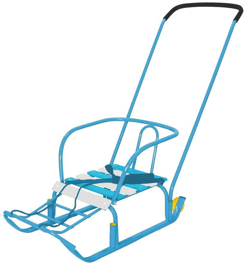 Ника Санки Тимка 3+ цвет голубойТ3+плоские полозья 30 мм, ручка два положения, пластиковые вкладыши под толкатель, поперечная рейка сиденья, ремень безопасности, ступенчатая подножка, колеса на полозьях для удобной транспортивроки, длина сиденья 390 мм, ширина сиденья- 290мм