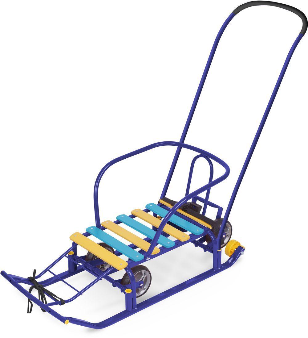 Ника Санки Тимка 5 Универсал цвет синийТ5Умеханизм выдвижных колесных шасси, плоские полозья 40мм, удлиненная база, поперечная рейка для сиденья, ступенчатая подножка, ручка- 2 положения, пластиковые вкладыши под толкатель, ремень безопасности, обрезиненные колеса на полозьях для удобной транспортировки