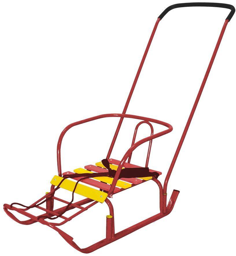 Ника Санки Тимка 3 цвет красныйТ3плоские полозья 30мм, поперечная рейка сиденья, ручка- два положения, пластиковые вкладыши под толкатель, ступенчатая подножка, длина сиденья- 390мм, ширина- 290 мм