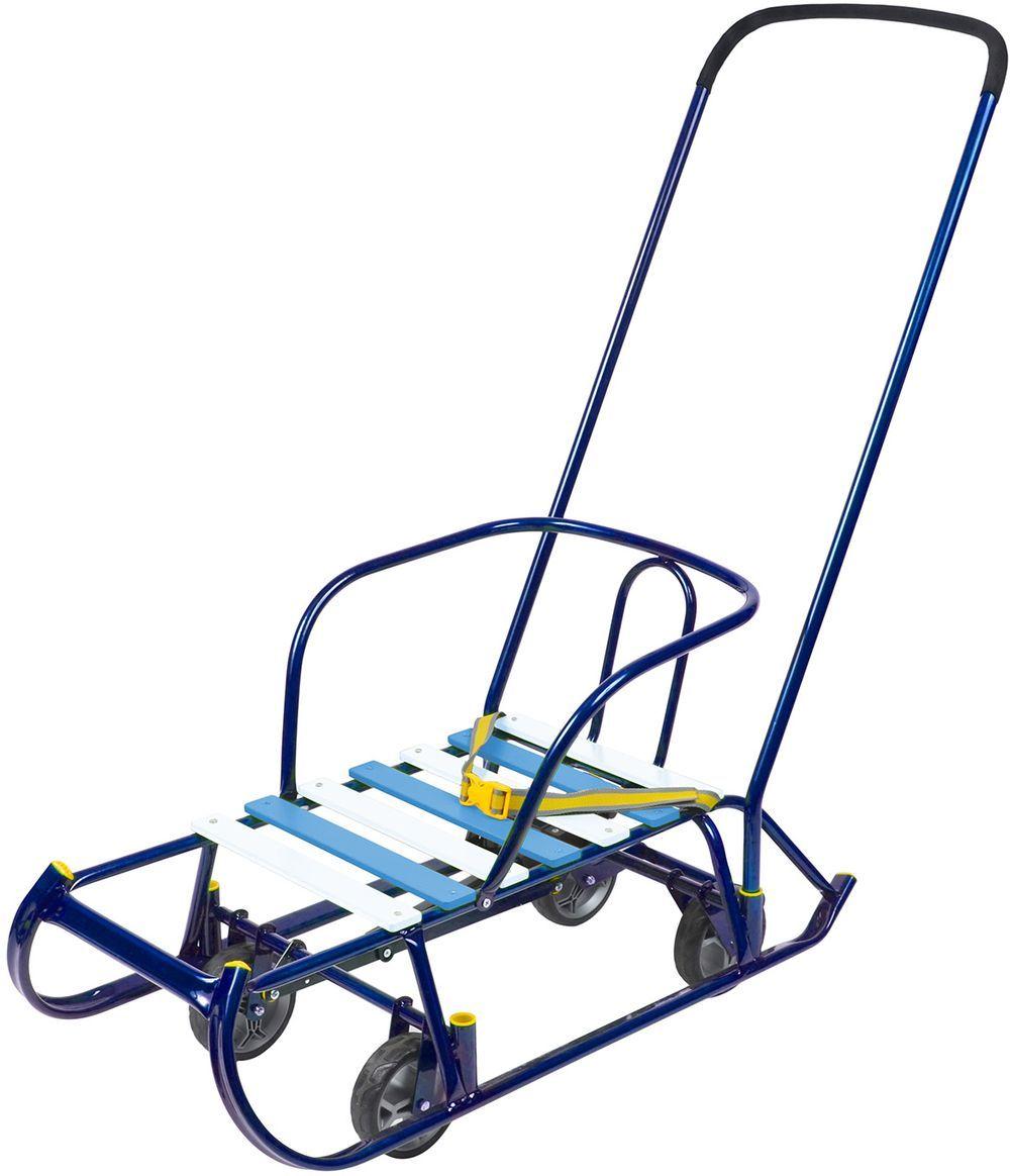 Ника Санки Тимка 6 Универсал цвет синийТ6У/Смеханизм выдвижных колесных шасси, плоские полозья 40мм, удлиненная база, поперечная рейка для сиденья, ступенчатая подножка, ручка- 2 положения, пластиковые вкладыши под толкатель, ремень безопасности, обрезиненные колеса на полозьях для удобной транспортировки