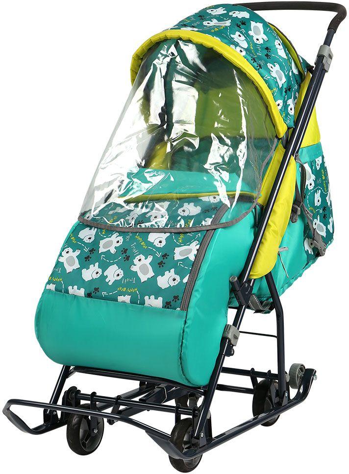 Ника Санки-коляска Умка 3-1/1 Медвежата цвет зеленыйУ3-1/1-плоские полозья 30мм- усиленный складной каркас - механизм смены полозьев на колеса (выдвижная колесная база)- складной высокий двухсекционный козырек с дополнительной дугой на спинке позволяет чувствовать себя комфортно малышу в шапке с помпоном- трехточечный ремень безопасности- съемный прозрачный тент-дождевик для защиты от ветра и осадков - плавная регулировка спинки до положения лежа- широкое посадочное место- чехол для ног на молнии с двух сторон- светоотражающий кант - обрезиненные колеса на полозьях для удобной транспортировки- перекидная ручка