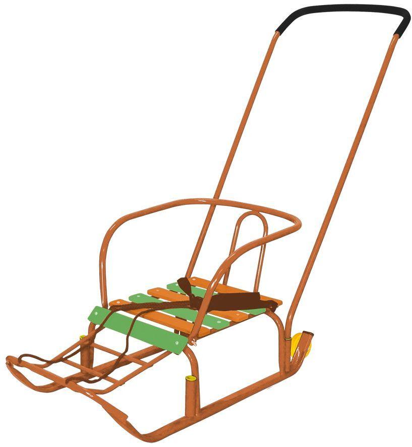 Ника Санки Тимка 3+ цвет оранжевыйТ3+плоские полозья 30 мм, ручка два положения, пластиковые вкладыши под толкатель, поперечная рейка сиденья, ремень безопасности, ступенчатая подножка, колеса на полозьях для удобной транспортивроки, длина сиденья 390 мм, ширина сиденья- 290мм