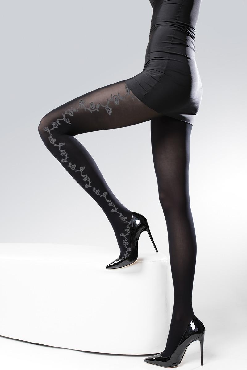 Колготки женские Knittex Blossom 40, цвет: черный, серый. BLOSSOM. Размер 2 колготки женские knittex classique цвет бежевый размер 2