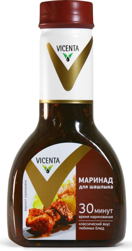 Vicenta маринад для шашлыка, 320 г81798Классический маринад VICENTA все сделает за вас, буквально за полчаса придав мясу нежность и новые оттенки вкуса. Все, что остается - подрумянить это изысканное блюдо на огне.