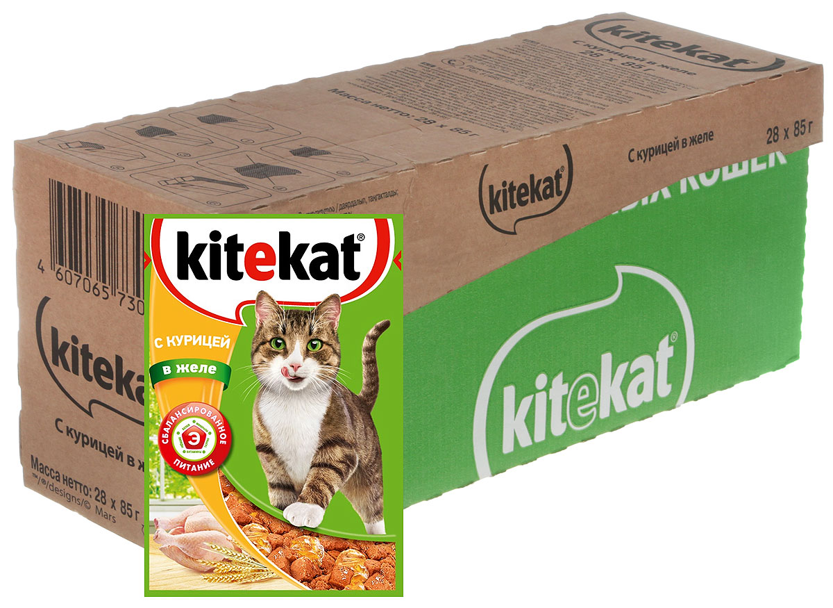 Консервы Kitekat для взрослых кошек, с курицей в желе, 85 г х 28 шт41375_85 г х 28 штКонсервы Kitekat - это порция сочных кусочков с курицей, приготовленных по особому рецепту. В основе корма формула сбалансированного питания, которая содержит белки, минералы, витамины, таурин и животные жиры. Порадуйте вашего питомца - в каждой порции только качественные продукты, как и те, что на вашей кухне: мясные ингредиенты, злаки и жиры животного происхождения. Все натуральные свойства сохранены и правильно сбалансированы для энергии и здоровья вашего кота. В упаковке 28 паучей по 85 г. Товар сертифицирован.