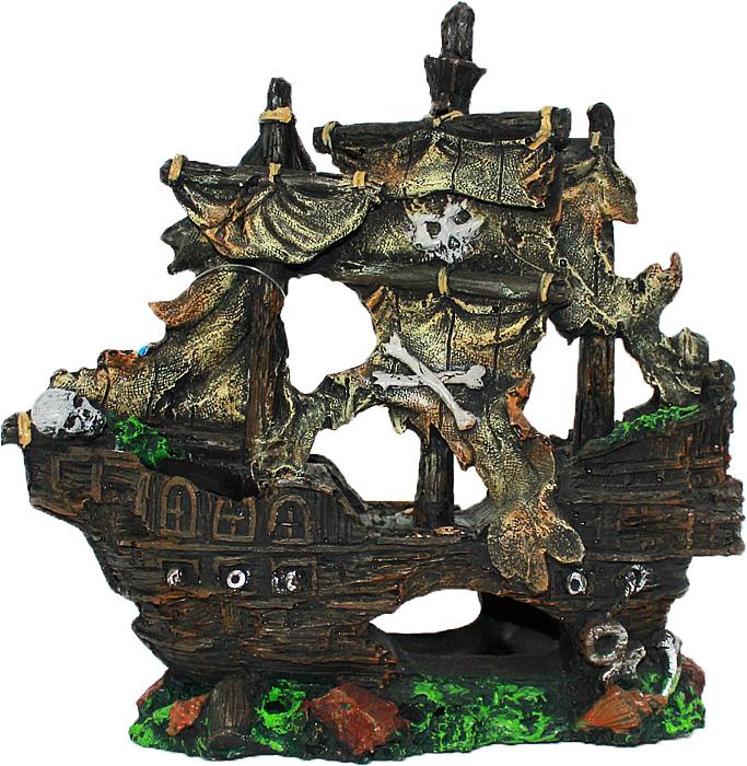 Грот Meijing Aquarium Затонувший пиратский корабль. YM-0803BYM-0803BАквариумный грот – это отличный элемент дизайна. Оригинальные аквариумные украшения придают подводному ландшафту завершенный вид, что крайне важно, ведь одной из главнейших функций аквариума в интерьере является функция эстетическая. Но декорация-грот – это еще и прекрасное укрытие для рыбок и иных обитателей подводного мира. Особенно – в том случае, если кто-либо из ваших питомцев проявляет излишнюю агрессивность по отношению к соседям. В таком случае грот для аквариума окажется совершенно незаменимым. Грот Meijing Aquarium прекрасно впишется в любой интерьер аквариума. А в сочетании с другими элементами декора сделает среду обитания ваших рыбок максимально приближенной к морской среде. Декорация абсолютно безвредна для рыб и растений. Грот тонет и не требует дополнительной фиксации в аквариуме. Может использоваться как в пресной, так и в морской воде. Изделие не токсично, не тускнеет и не теряет цвета, краска не облазит.
