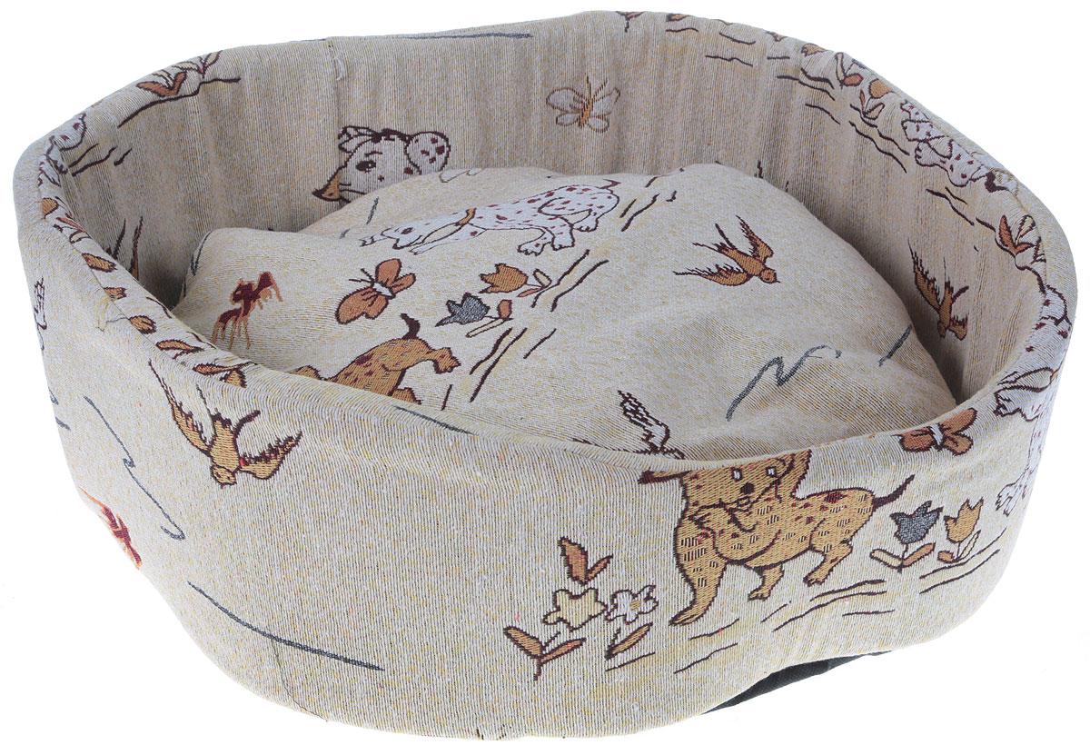 Лежак для собак GLG Ринго М, цвет: бежевый, 54 х 54 х 18 смL006/C_щенки, бабочки, птичкиМягкий лежак GLG Ринго М обязательно понравится вашему питомцу. Он выполнен из качественного текстиля с рисунком и дополнен наполнителем из поролона. Материал не теряет своей формы долгое время. Высокие бортики обеспечат вашему любимцу уют. Мягкий лежак станет излюбленным местом вашего питомца, подарит ему спокойный и комфортный сон, а также убережет вашу мебель от шерсти.