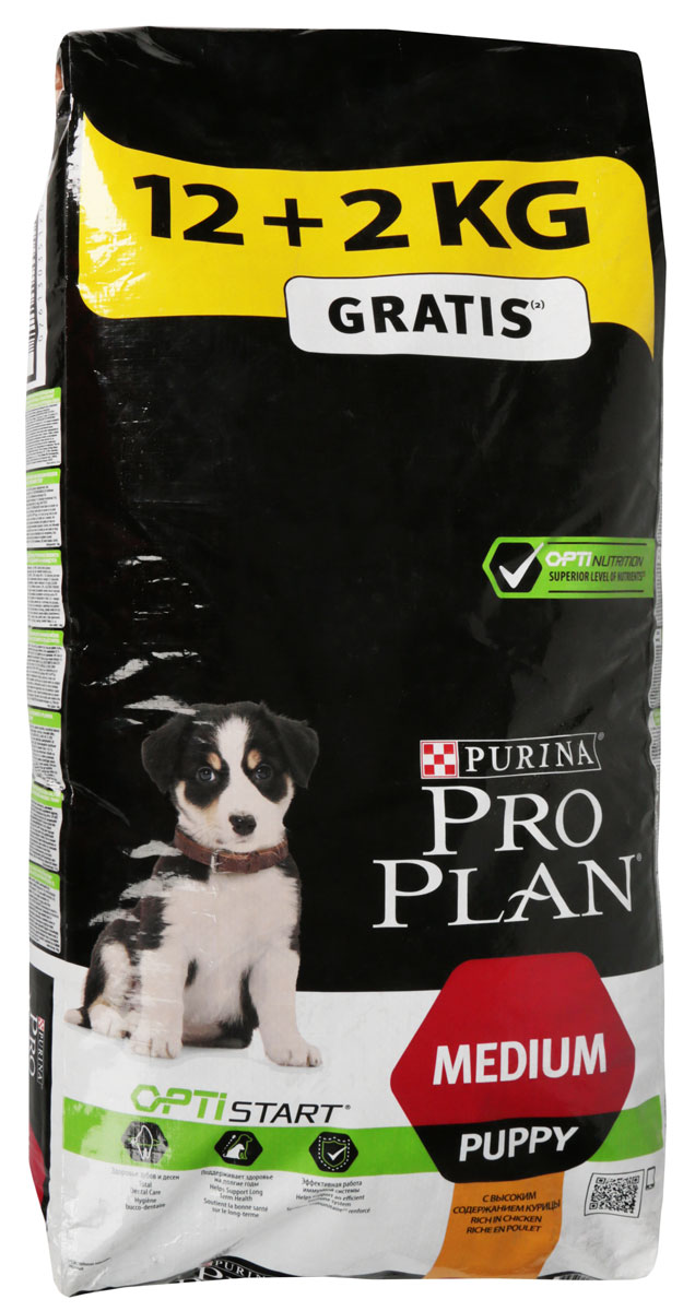 Корм сухой Pro Plan Puppy Medium, для щенков средних пород, с курицей и рисом, 12 кг + 2 кг в подарок pro plan puppy sensitive купить
