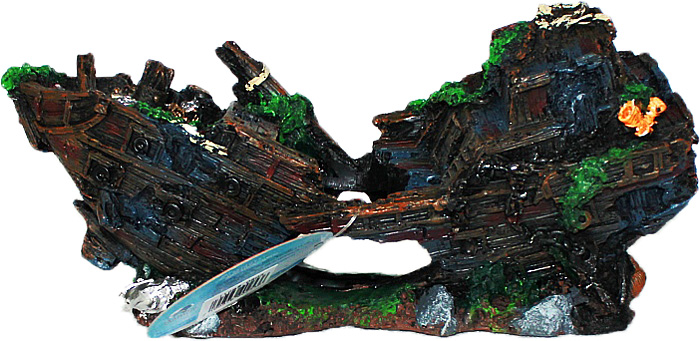 Грот Meijing Aquarium  Затонувший корабль с якорем . YM-0805 - Аксессуары для аквариумов