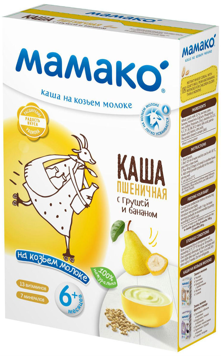 Мамако каша пшеничная с грушей и бананом на козьем молоке, 200 г
