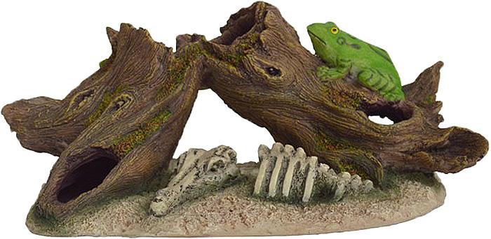 Грот Meijing Aquarium Коряга со скелетом и лягушкой. MJA-018MJA-018Аквариумный грот – это отличный элемент дизайна. Оригинальные аквариумные украшения придают подводному ландшафту завершенный вид, что крайне важно, ведь одной из главнейших функций аквариума в интерьере является функция эстетическая. Но декорация-грот – это еще и прекрасное укрытие для рыбок и иных обитателей подводного мира. Особенно – в том случае, если кто-либо из ваших питомцев проявляет излишнюю агрессивность по отношению к соседям. В таком случае грот для аквариума окажется совершенно незаменимым. Грот Meijing Aquarium прекрасно впишется в любой интерьер аквариума. А в сочетании с другими элементами декора сделает среду обитания ваших рыбок максимально приближенной к морской среде. Декорация абсолютно безвредна для рыб и растений. Грот тонет и не требует дополнительной фиксации в аквариуме. Может использоваться как в пресной, так и в морской воде. Изделие не токсично, не тускнеет и не теряет цвета, краска не облазит.