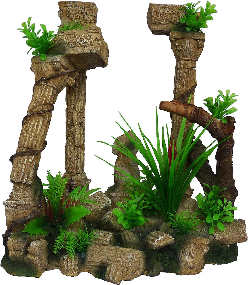 Грот Meijing Aquarium  Античные колонны с растениями . AR-002 - Аксессуары для аквариумов