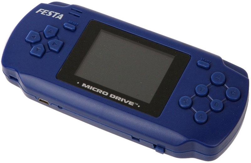 Portable Sega Micro Drive Festa игровая приставка (19 игр), Blue LCD19-BLLCD19-BL_синийПортативная игровая приставка Portable Sega Micro Drive Festa разработана на основе 16-битной игровой консоли SEGA Megadrive 2 с установленными 19 классическими SEGA. Благодаря встроенному слоту для картриджей в самом корпусе приставки имеется возможность играть с картриджами для SEGA.Полноцветный LCD экран с диагональю 2,4 дюйма, возможность подключения к телевизору, продолжительность автономной работы от аккумулятора - более 3 часов, качественный звук и возможность подключения наушников.