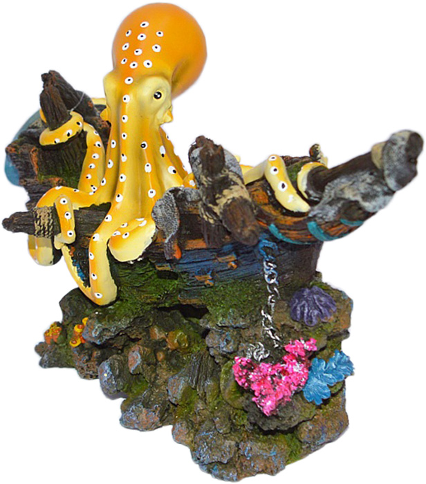 Грот Meijing Aquarium Затонувший корабль с осьминогом. YS-17213YS-17213Аквариумный грот – это отличный элемент дизайна. Оригинальные аквариумные украшения придают подводному ландшафту завершенный вид, что крайне важно, ведь одной из главнейших функций аквариума в интерьере является функция эстетическая. Но декорация-грот – это еще и прекрасное укрытие для рыбок и иных обитателей подводного мира. Особенно – в том случае, если кто-либо из ваших питомцев проявляет излишнюю агрессивность по отношению к соседям. В таком случае грот для аквариума окажется совершенно незаменимым. Грот Meijing Aquarium прекрасно впишется в любой интерьер аквариума. А в сочетании с другими элементами декора сделает среду обитания ваших рыбок максимально приближенной к морской среде. Декорация абсолютно безвредна для рыб и растений. Грот тонет и не требует дополнительной фиксации в аквариуме. Может использоваться как в пресной, так и в морской воде. Изделие не токсично, не тускнеет и не теряет цвета, краска не облазит.