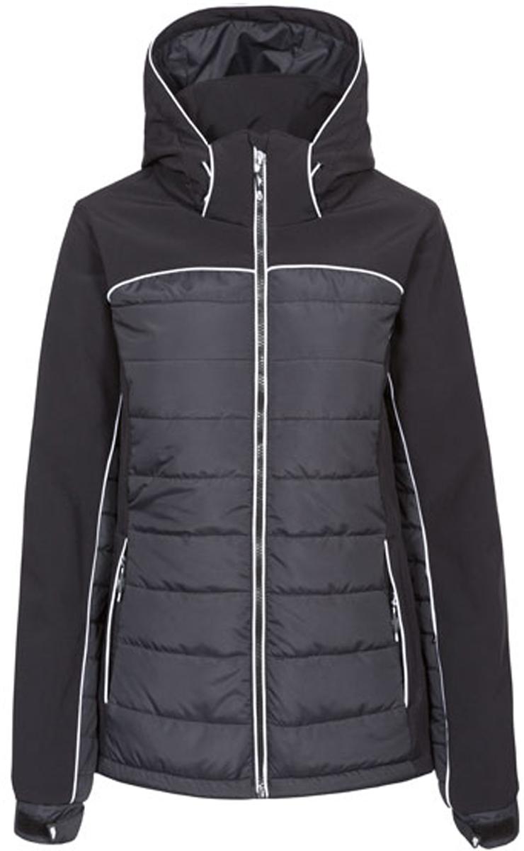Куртка женская Trespass Evvy, цвет: черный. FAJKSKM20009. Размер XL (50)FAJKSKM20009Великолепная утепленная куртка Trespass Evvy выполнена из полиэстера и эластана. Модель с длинными рукавами и капюшоном застегивается на застежку-молнию спереди. Верхний материал непромокаемый. Рукава дополнены эластичными резинками на манжетах, а также хлястиками с липучками, которые позволяют регулировать обхват манжет. Прекрасно подойдет как для города, так и для отдыха на природе.