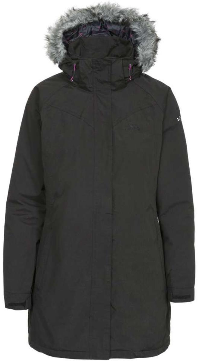 Куртка женская Trespass San Fran, цвет: черный. FAJKRAK20012. Размер XL (50)FAJKRAK20012Великолепная утепленная куртка Trespass San Fran выполнена из плотного текстиля с не продуваемой водозащитной мембраной Tres-Shield 5000/5000, синтепоновый утеплитель. Модель имеет приталенный крой, ветрозащитный клапан на липучках, боковые карманы на молнии, рукава-реглан, съемный капюшон, съемную меховую опушку. Рукава дополнены хлястиками с липучками, которые позволяют регулировать обхват манжет. Застегивается на застежку-молнию спереди.