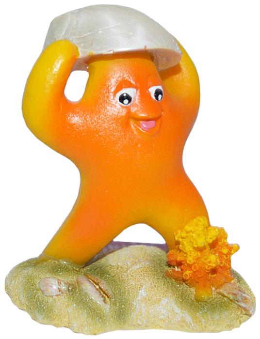Грот Meijing Aquarium Морская звездочка, цвет: оранжевый. EB-057EB-057Веселая морская звездочка украсит любой детский аквариум. Звездочка сделана из безопасных для гидробионтов материалов, ее вес составляет 125 грамм и это не позволит маленьким рыбкам или другим обитателям сдвинуть ее или уронить.Размер основания 8 см на 4,5 см, высота 9,5 см