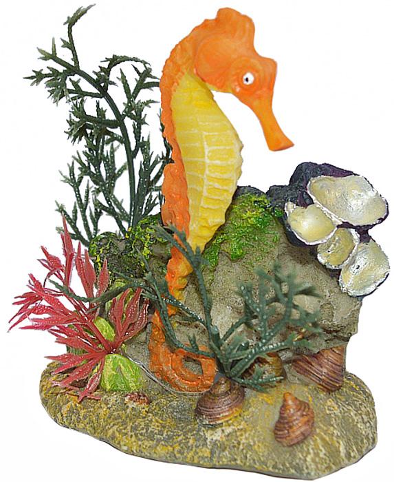 Грот Meijing Aquarium Морской конек, цвет: оранжевый. EB-009AEB-009AАквариумный грот – это отличный элемент дизайна. Оригинальные аквариумные украшения придают подводному ландшафту завершенный вид, что крайне важно, ведь одной из главнейших функций аквариума в интерьере является функция эстетическая. Но декорация-грот – это еще и прекрасное укрытие для рыбок и иных обитателей подводного мира. Особенно – в том случае, если кто-либо из ваших питомцев проявляет излишнюю агрессивность по отношению к соседям. В таком случае грот для аквариума окажется совершенно незаменимым. Грот Meijing Aquarium прекрасно впишется в любой интерьер аквариума. А в сочетании с другими элементами декора сделает среду обитания ваших рыбок максимально приближенной к морской среде. Декорация абсолютно безвредна для рыб и растений. Грот тонет и не требует дополнительной фиксации в аквариуме. Может использоваться как в пресной, так и в морской воде. Изделие не токсично, не тускнеет и не теряет цвета, краска не облазит.