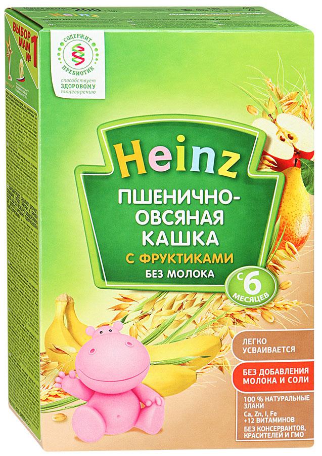 Heinz каша пшенично-овсяная с фруктиками, с 6 месяцев, 200 г каша молочная heinz лакомая пшенично кукурузная персик банан вишенка с 6 мес 200 г