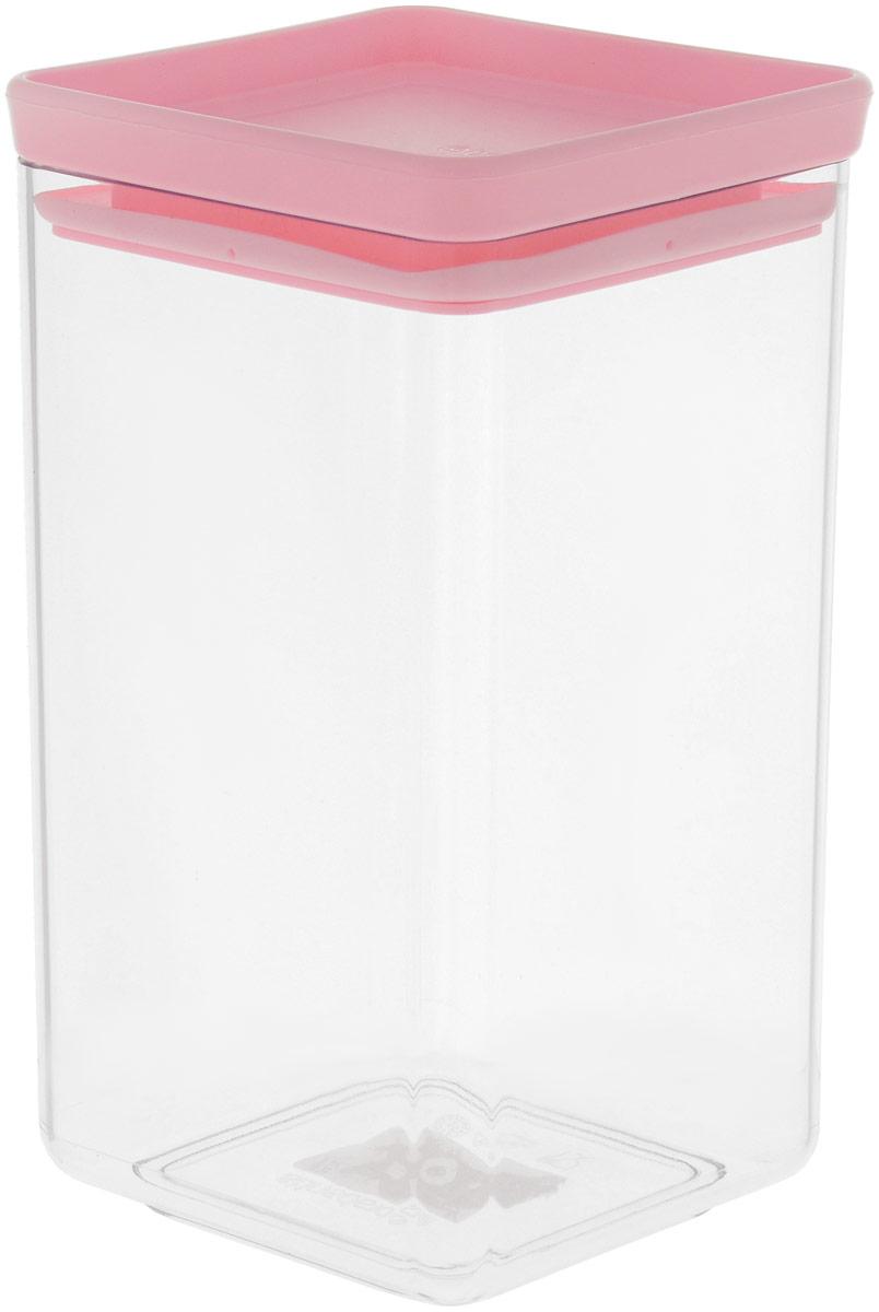 Контейнер для сыпучих продуктов Brabantia Tasty Colors, цвет: прозрачный, розовый, 1,6 л контейнер для хранения сыпучих продуктов winner с металлической крышкой
