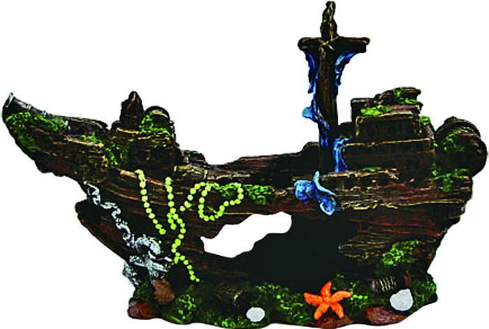 Грот Meijing Aquarium Затонувший корабль. YM-0806YM-0806Аквариумный грот – это отличный элемент дизайна. Оригинальные аквариумные украшения придают подводному ландшафту завершенный вид, что крайне важно, ведь одной из главнейших функций аквариума в интерьере является функция эстетическая. Но декорация-грот – это еще и прекрасное укрытие для рыбок и иных обитателей подводного мира. Особенно – в том случае, если кто-либо из ваших питомцев проявляет излишнюю агрессивность по отношению к соседям. В таком случае грот для аквариума окажется совершенно незаменимым. Грот Meijing Aquarium прекрасно впишется в любой интерьер аквариума. А в сочетании с другими элементами декора сделает среду обитания ваших рыбок максимально приближенной к морской среде. Декорация абсолютно безвредна для рыб и растений. Грот тонет и не требует дополнительной фиксации в аквариуме. Может использоваться как в пресной, так и в морской воде. Изделие не токсично, не тускнеет и не теряет цвета, краска не облазит.