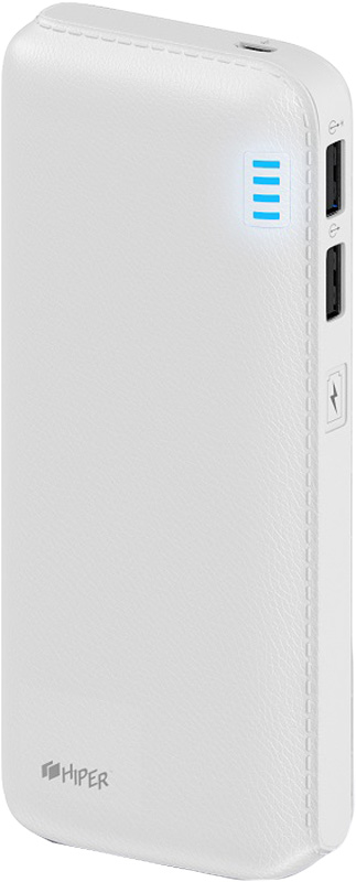 Внешний аккумулятор HIPER Power Bank SP12500, White (12500 мАч)SP12500 WHITEPower bank HIPER SP12500 Li-Ion 12500mAh 2.1A+1A white