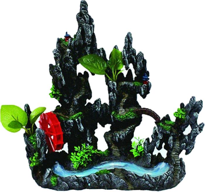 Грот Meijing Aquarium Скалы с горным ручьем и мельницей. YM-08101YM-08101Аквариумный грот – это отличный элемент дизайна. Оригинальные аквариумные украшения придают подводному ландшафту завершенный вид, что крайне важно, ведь одной из главнейших функций аквариума в интерьере является функция эстетическая. Но декорация-грот – это еще и прекрасное укрытие для рыбок и иных обитателей подводного мира. Особенно – в том случае, если кто-либо из ваших питомцев проявляет излишнюю агрессивность по отношению к соседям. В таком случае грот для аквариума окажется совершенно незаменимым. Грот Meijing Aquarium прекрасно впишется в любой интерьер аквариума. А в сочетании с другими элементами декора сделает среду обитания ваших рыбок максимально приближенной к морской среде. Декорация абсолютно безвредна для рыб и растений. Грот тонет и не требует дополнительной фиксации в аквариуме. Может использоваться как в пресной, так и в морской воде. Изделие не токсично, не тускнеет и не теряет цвета, краска не облазит.