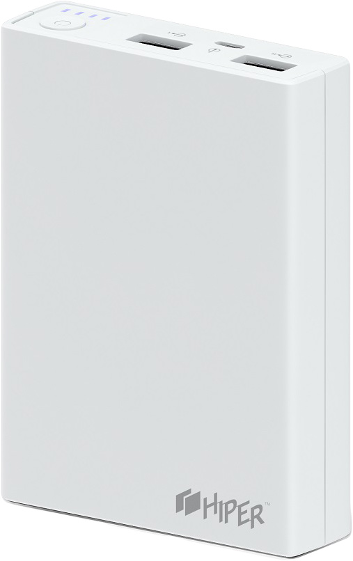 Внешний аккумулятор Hiper Power Bank RP10000, White (10000 мАч) jz 1 6000mah portable li polymer battery power bank w usb cable white