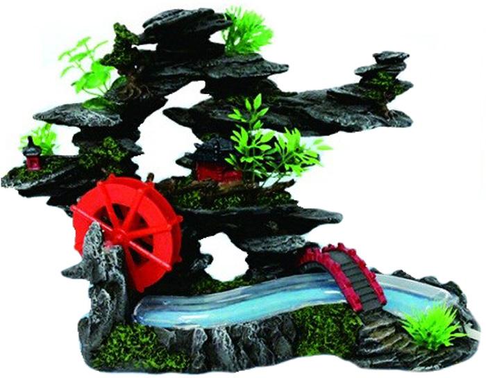 Грот Meijing Aquarium Бегущий ручей в скалах с мельницей. YM-08104 грот meijing aquarium скала с мостом и водяной мельницей ym 506