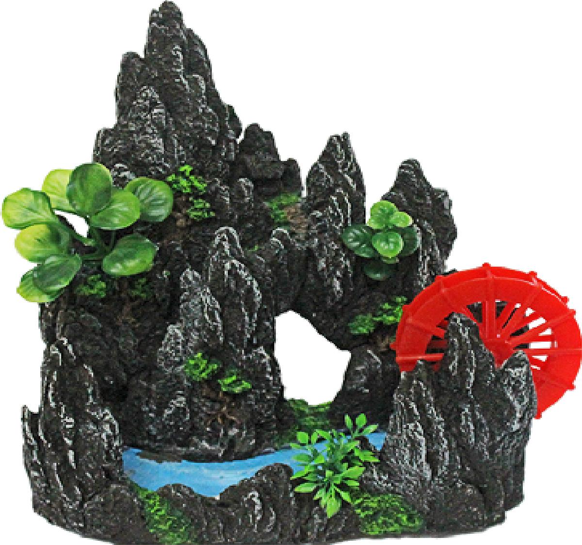 Грот Meijing Aquarium Водяная мельница в скалах с ручьем, с распылителем воздуха. YM-08107YM-08107Грот Meijing Aquarium - это отличный элемент дизайна. Декор не только украсит ваш аквариум,но и послужит прекрасным укрытием для рыб. Ведь, как известно, в аквариуме без укрытий рыбкипостоянно испытывают стресс.Декор Meijing Aquarium выполнен из высококачественного нетоксичного пластика и абсолютнобезвреден для аквариумных обитателей. Приобретая гроты с распылителем воздуха, вы не только украшаете свой аквариуминтересным декором, но также эти гроты насыщают воду необходимым кислородом. Такие гротынезаменимы особенно для детских аквариумов.