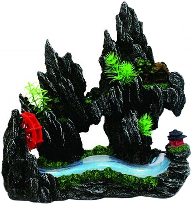 """Фото Грот Meijing Aquarium """"Водяная мельница на горном ручье"""", с распылителем воздуха. YM-08114"""