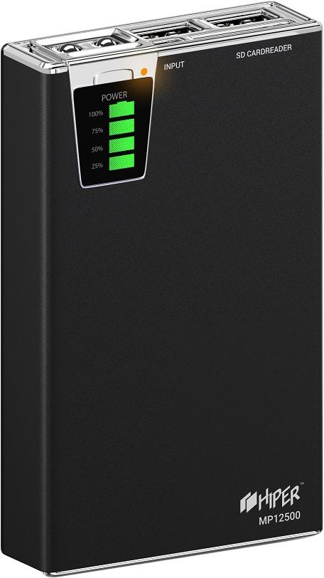 HIPER MP12500, Black внешний аккумулятор (12500 мАч) внешний аккумулятор hiper power bank mp10000 black 10000 мач