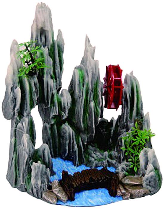 Грот Meijing Aquarium Скала с мостом и мельницей. YM-626AYM-626AАквариумный грот – это отличный элемент дизайна. Оригинальные аквариумные украшения придают подводному ландшафту завершенный вид, что крайне важно, ведь одной из главнейших функций аквариума в интерьере является функция эстетическая. Но декорация-грот – это еще и прекрасное укрытие для рыбок и иных обитателей подводного мира. Особенно – в том случае, если кто-либо из ваших питомцев проявляет излишнюю агрессивность по отношению к соседям. В таком случае грот для аквариума окажется совершенно незаменимым. Грот Meijing Aquarium прекрасно впишется в любой интерьер аквариума. А в сочетании с другими элементами декора сделает среду обитания ваших рыбок максимально приближенной к морской среде. Декорация абсолютно безвредна для рыб и растений. Грот тонет и не требует дополнительной фиксации в аквариуме. Может использоваться как в пресной, так и в морской воде. Изделие не токсично, не тускнеет и не теряет цвета, краска не облазит.