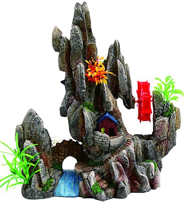 Грот Meijing Aquarium Домик у водяной мельницы в скалах. YM-955 игровые наборы море чудес набор грот русалочки