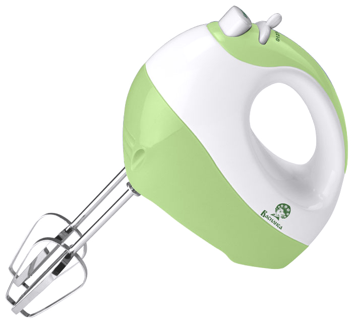 Василиса ВА-501, White Green миксер0R-00001796Миксер электрический ВАСИЛИСА ВА-501 белый с зеленымНоминальная мощность 170 ВтКорпус из высококачественного пластикаКнопка извлечения насадок7 скоростных режимовАксессуары:2 венчика для взбивания яиц и крема