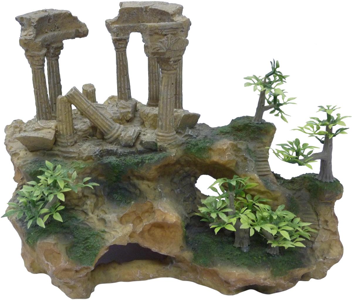Грот Meijing Aquarium Античные колонны и деревья. AR-012AR-012Аквариумный грот – это отличный элемент дизайна. Оригинальные аквариумные украшения придают подводному ландшафту завершенный вид, что крайне важно, ведь одной из главнейших функций аквариума в интерьере является функция эстетическая. Но декорация-грот – это еще и прекрасное укрытие для рыбок и иных обитателей подводного мира. Особенно – в том случае, если кто-либо из ваших питомцев проявляет излишнюю агрессивность по отношению к соседям. В таком случае грот для аквариума окажется совершенно незаменимым. Грот Meijing Aquarium прекрасно впишется в любой интерьер аквариума. А в сочетании с другими элементами декора сделает среду обитания ваших рыбок максимально приближенной к морской среде. Декорация абсолютно безвредна для рыб и растений. Грот тонет и не требует дополнительной фиксации в аквариуме. Может использоваться как в пресной, так и в морской воде. Изделие не токсично, не тускнеет и не теряет цвета, краска не облазит.