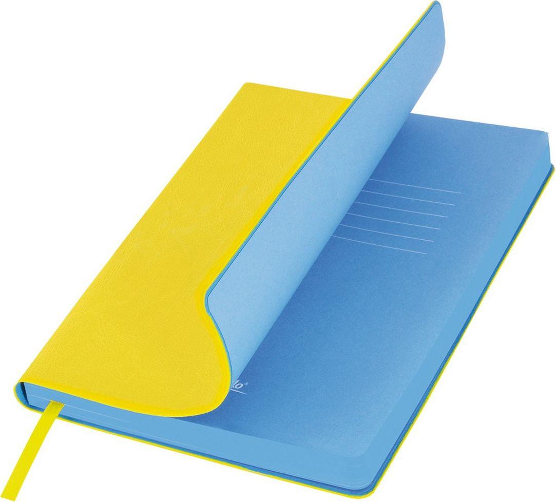Portobello Trend Ежедневник недатированный River Side 128 листов цвет желтый голубойLXX1501256-075Гибкая обложка выполнена из материала с эффектом венецианской штукатурки. На ощупь прослеживается мелкий рельеф. Фактура – глянцевая. Тон за счет фактуры может меняться в зависимости от освещения. Цвет форзацев контрастный и яркий. Ляссе в цвет форзаца.