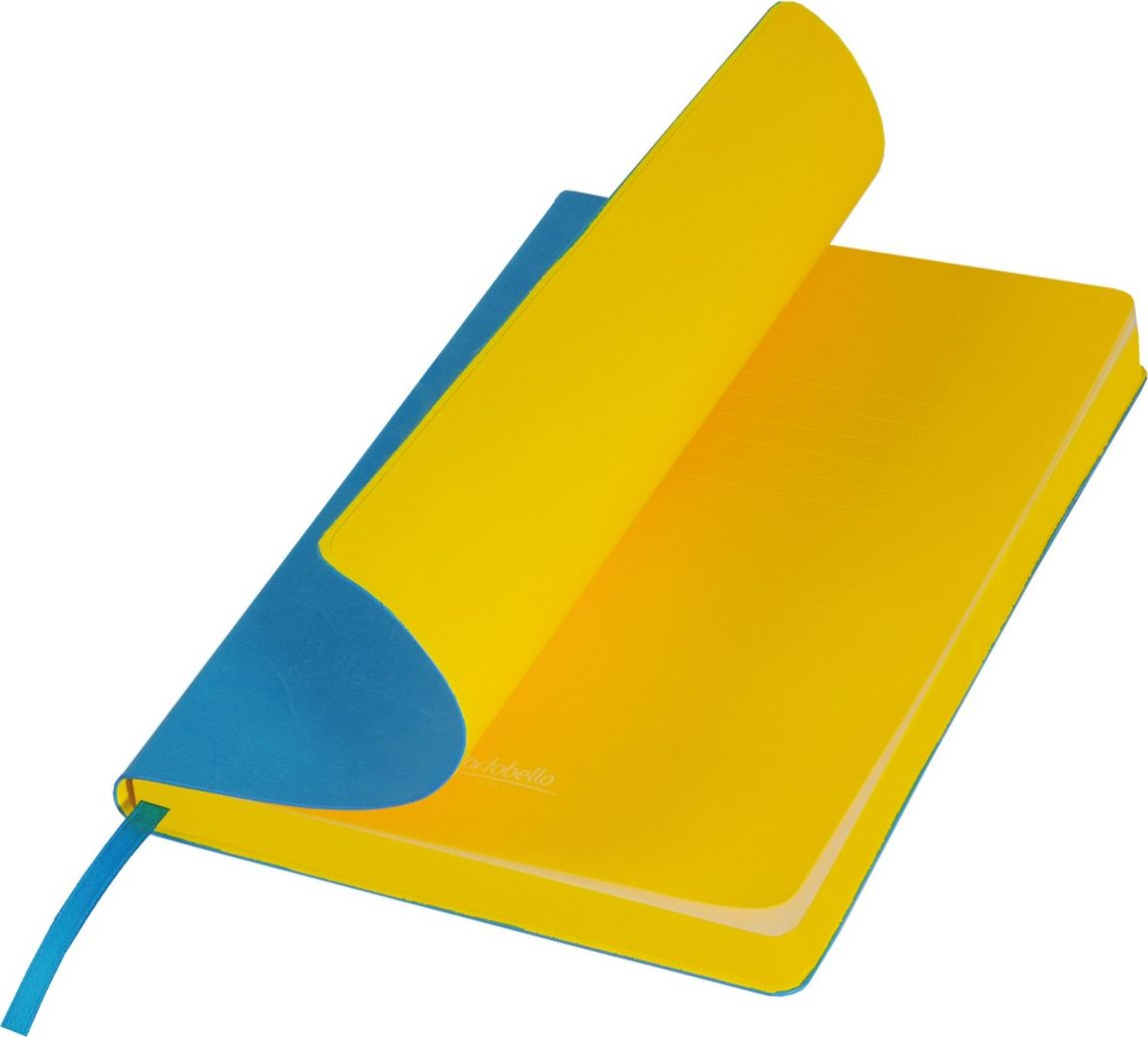 Portobello Trend Ежедневник недатированный River Side 128 листов цвет голубой желтыйLXX1501256-600Гибкая обложка выполнена из материала с эффектом венецианской штукатурки. На ощупь прослеживается мелкий рельеф. Фактура – глянцевая. Тон за счет фактуры может меняться в зависимости от освещения. Цвет форзацев контрастный и яркий. Ляссе в цвет форзаца.