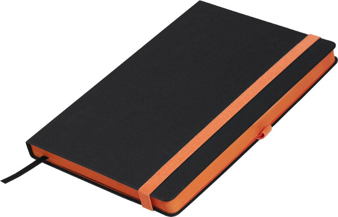 Portobello Trend Ежедневник недатированный Aurora 128 листов цвет черный оранжевыйLXX1601262-070Жесткая матовая с легким блеском обложка, мелкий рельефный рисунок под кожу. Фактура на ощупь теплая и шелковистая. Особенностью коллекции является резинка-фиксатор контрастного к обложке цвета, срез и форзацы в цвет резинки.
