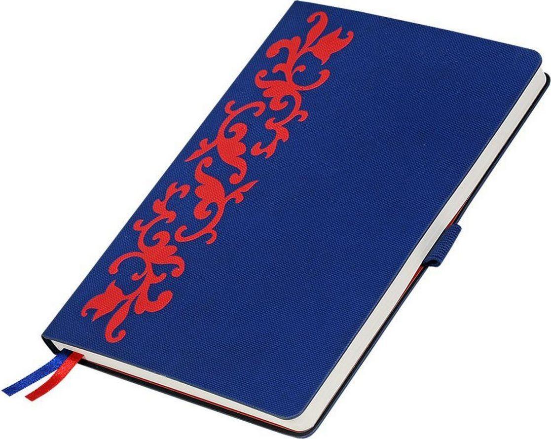 Portobello Trend Ежедневник недатированный Русские узоры 128 листов цвет синий красныйLXX1601263-030Жесткая обложка выполнена из материала оригинального тиснения – в мелкую густую сетку, матовая поверхность обложки в сочетании с фактурой, напоминающей домотканый материал. Уникальной особенностью данной коллекции является использование традиционного русского орнамента, выполненного в уникальной технике бесшовного соединения двух контрастных материалов. Контрастные форзацы в цвет узора, двойное ляссе в цвет обложки и узора, срез не прокрашен, приятные дополнения: кармашек для заметок и петелька для ручки.