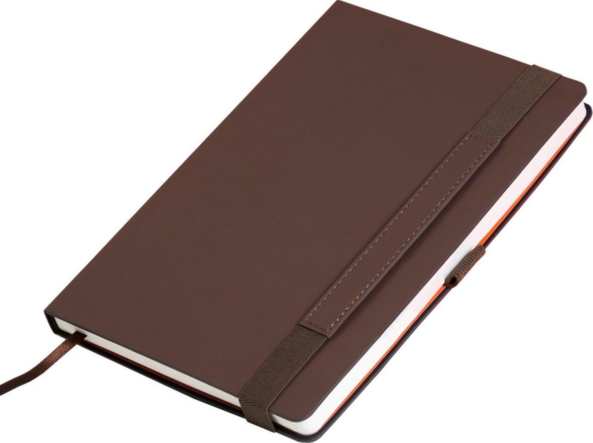 Portobello Trend Ежедневник недатированный Alpha 128 листов цвет коричневый оранжевыйLXX1701264-020Материал Alpha c эффектом Soft-Touch, жесткая обложка. Широкая резинка-фиксатор со вставкой из ПУ (дополнительное поле для персонализации), форзац и нахзац контрастный, без прокраса среза.