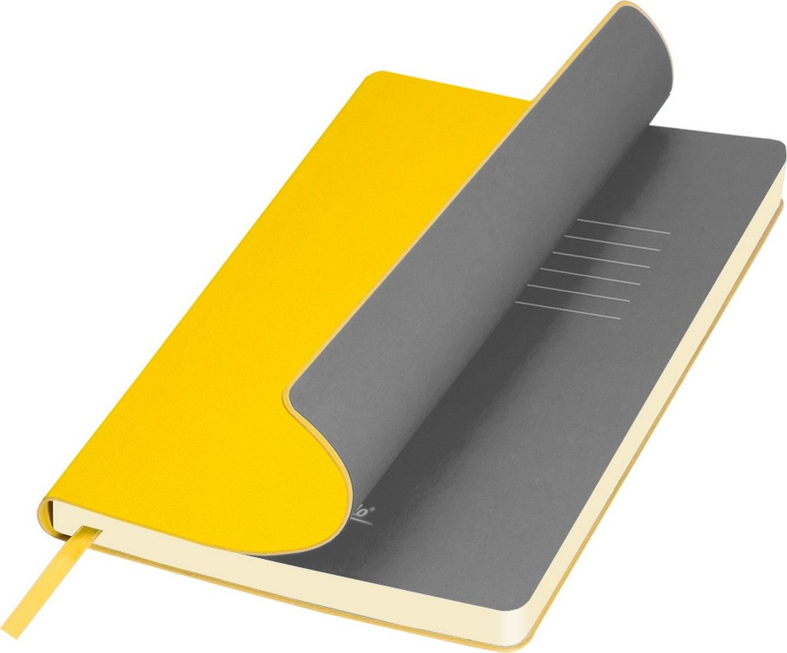 Portobello Trend Ежедневник недатированный Sky 128 листов цвет желтый серыйLXX1401141-075/2Мягкая обложка выполнена из материала вельвет с чуть заметно проступающей фактурой нубука. На ощупь гладкая. Форзацы – цветные. Цвета-компаньоны форзацев и срезов подобраны идеально, что предполагает гармоничное визуальное восприятие. Срез ежедневника не окрашен.
