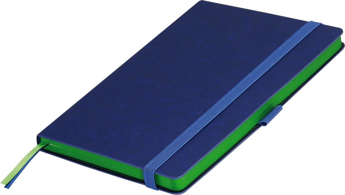 Portobello Trend Ежедневник недатированный Blue Ocean 128 листов цвет синий светло-зеленыйLXX1401148-040/1Жесткая обложка синего цвета выполнена из материала новаторских технологий. Искусственная кожа тактильно похожа на фактуру бумаги - на ощупь шелковистая, с еле заметным рельефом хорошо выделанной гладкой кожи. Цвет – неоднородный, с переливами от очень темных до светлых тонов. Эффектно выглядит сочетание базового синего цвета обложки с яркими тонами форзаца и среза.