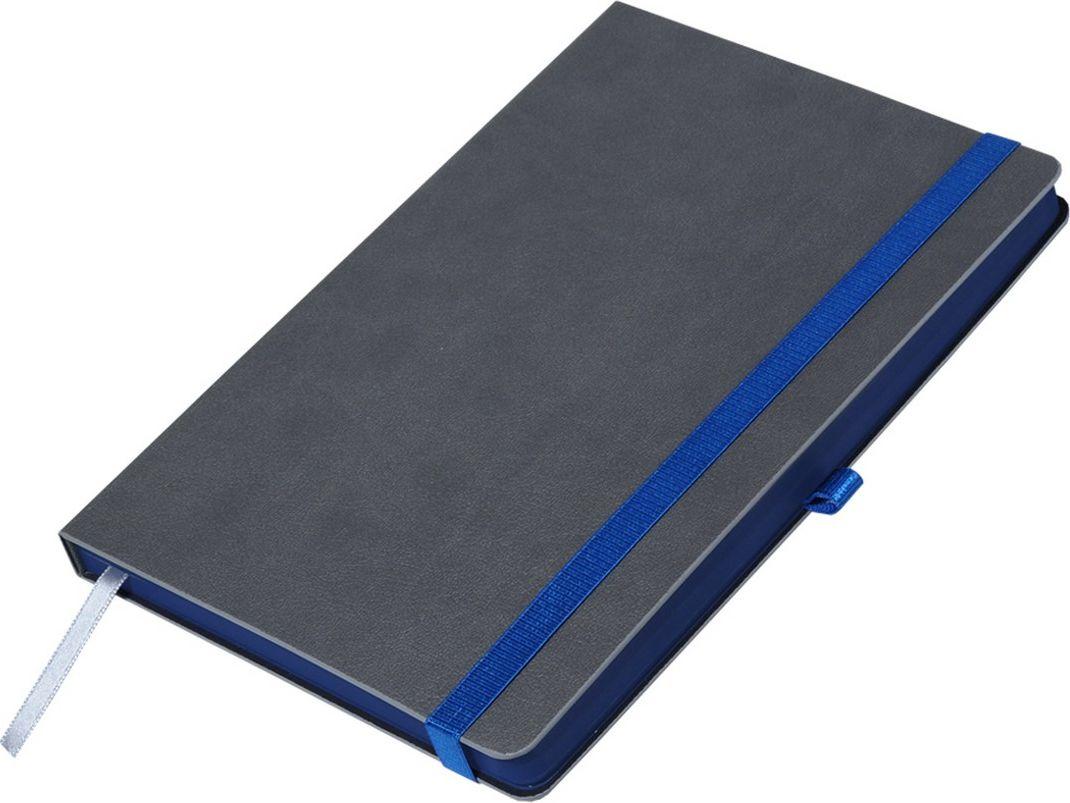 Portobello Trend Ежедневник недатированный Aurora 128 листов цвет серый темно-синийLXX1601262-030/1Жесткая матовая с легким блеском обложка, мелкий рельефный рисунок под кожу. Фактура на ощупь теплая и шелковистая.Особенностью коллекции является резинка-фиксатор контрастного к обложке цвета, срез и форзацы в цвет резинки.