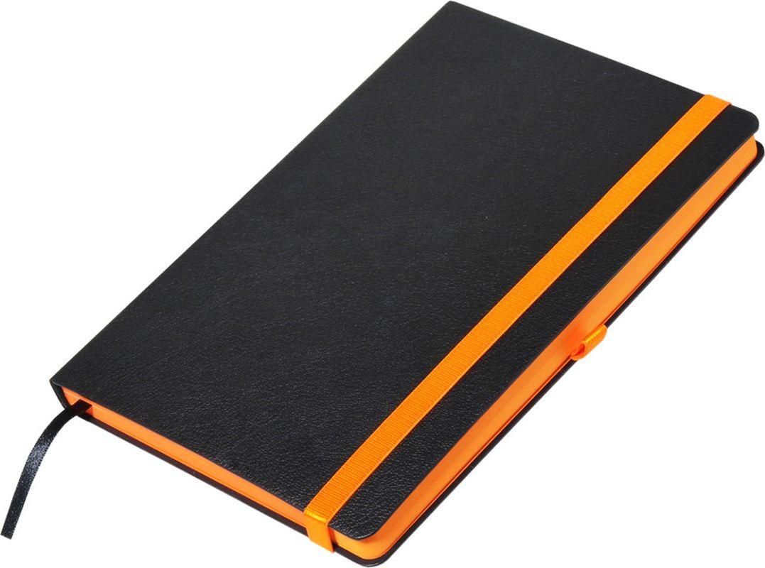 Portobello Trend Ежедневник недатированный Aurora 128 листов цвет черный оранжевыйLXX1601262-070/1Жесткая матовая с легким блеском обложка, мелкий рельефный рисунок под кожу. Фактура на ощупь теплая и шелковистая.Особенностью коллекции является резинка-фиксатор контрастного к обложке цвета, срез и форзацы в цвет резинки.