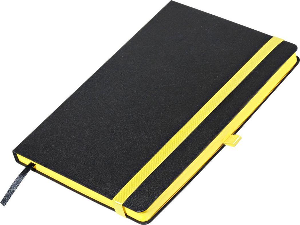 Portobello Trend Ежедневник недатированный Aurora 128 листов цвет черный желтыйLXX1601262-075/1Жесткая матовая с легким блеском обложка, мелкий рельефный рисунок под кожу. Фактура на ощупь теплая и шелковистая.Особенностью коллекции является резинка-фиксатор контрастного к обложке цвета, срез и форзацы в цвет резинки.
