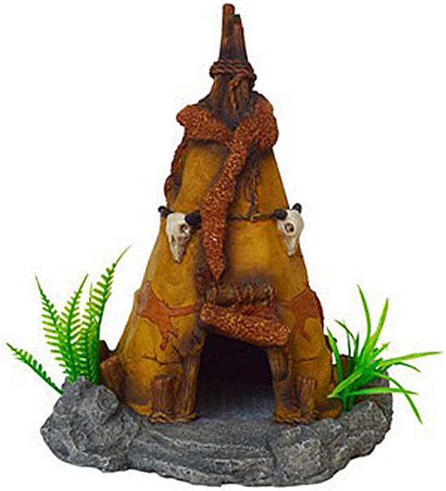 Грот Meijing Aquarium Вигвам. MJA-004MJA-004Аквариумный грот – это отличный элемент дизайна. Оригинальные аквариумные украшения придают подводному ландшафту завершенный вид, что крайне важно, ведь одной из главнейших функций аквариума в интерьере является функция эстетическая. Но декорация-грот – это еще и прекрасное укрытие для рыбок и иных обитателей подводного мира. Особенно – в том случае, если кто-либо из ваших питомцев проявляет излишнюю агрессивность по отношению к соседям. В таком случае грот для аквариума окажется совершенно незаменимым. Грот Meijing Aquarium прекрасно впишется в любой интерьер аквариума. А в сочетании с другими элементами декора сделает среду обитания ваших рыбок максимально приближенной к морской среде. Декорация абсолютно безвредна для рыб и растений. Грот тонет и не требует дополнительной фиксации в аквариуме. Может использоваться как в пресной, так и в морской воде. Изделие не токсично, не тускнеет и не теряет цвета, краска не облазит.