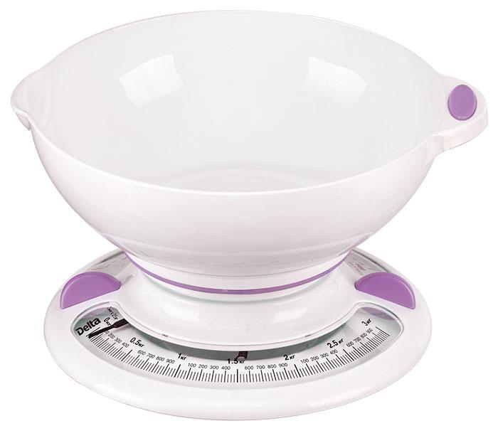 Delta КСА-103, White Purple весы кухонные0R-00000218Весы бытовые настольные 3 кг DELTA КСА-103 с чашейПредельная масса взвешивания 3 кгЦена деления 25 гТип: механическиеКорпус и чаша из высококачественного цветного пластикаТочная регулировка нулевого значенияАксессуарыЧаша для взвешивания